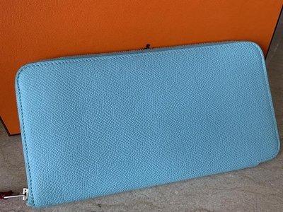 Hermes 經典 Silk In 長夾 3P Blue Atoll_ Tiffany 藍色/特價