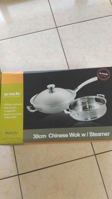 全新 均岱鍋具 伊莉莎白 不銹鋼系列 30cm炒鍋+蒸格