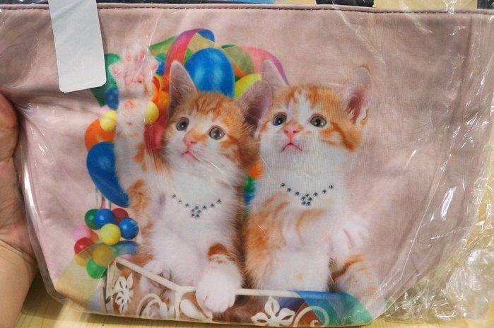 Kini 手提包 貓咪 小橘貓 轉印包 手提式 隔層拉鏈提袋 輕便容量大 日本帶回 特價450元