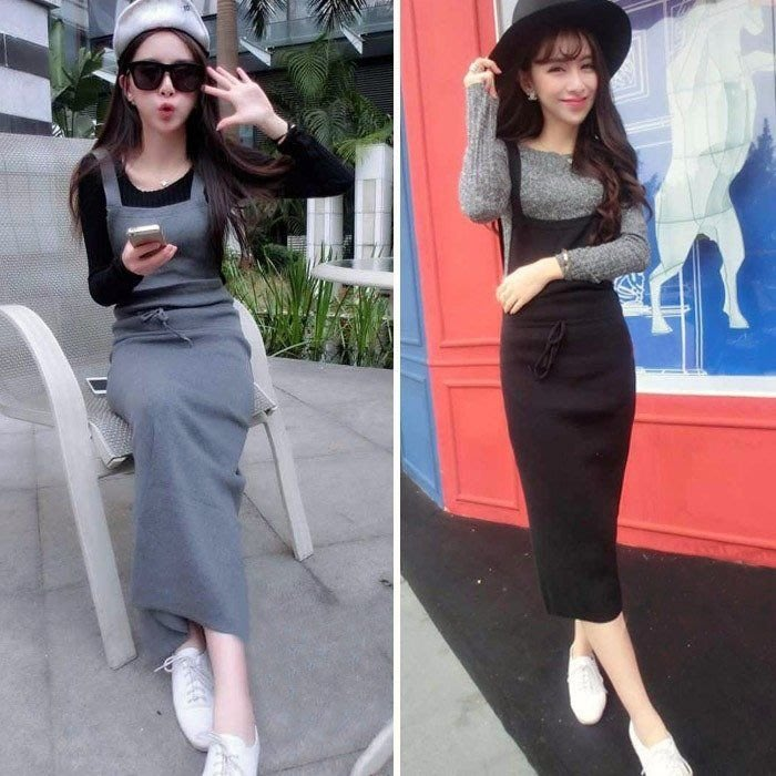 【現貨出清】韓版 顯瘦 吊帶連身裙 針織棉長裙 吊帶裙(灰色)