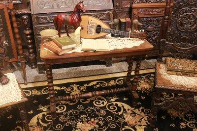 【家與收藏】賠售特價稀有珍藏歐洲百年古董英國19世紀古典精緻手工Inlaid鑲嵌花梨木拼花雕刻桌2