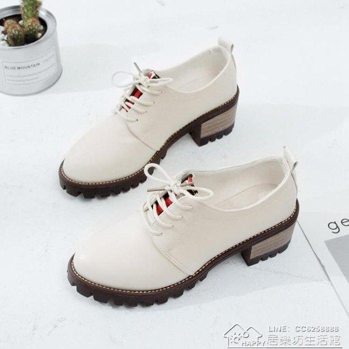 英倫加絨小皮鞋子女秋冬季新款百搭高跟單鞋ZIPPER鞋女鞋