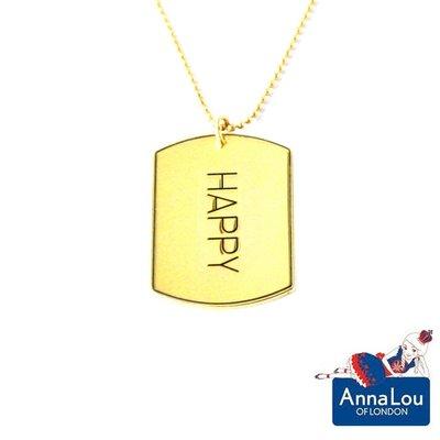 Anna Lou OF LONDON 台北ShopSmart直營店 倫敦品牌 優雅方牌字墜 金項鍊 HAPPY 台北市
