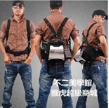 【格倫雅】^戶外男士腰包 戰地記者沖鋒式雙肩包 騎行包背包 相機包[g-l-y65