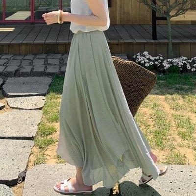 Bellee  正韓  下擺不規則絲混紡鬆緊長裙   (2色)【J1960606】 預購