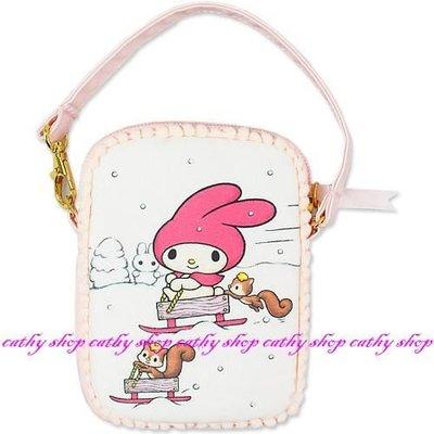 *凱西小舖*日本進口三麗歐正版美樂蒂&小松鼠雪世界系列可手提收納/手機/相機包