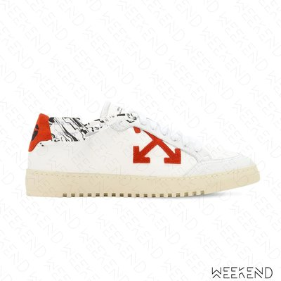 【WEEKEND】 OFF WHITE 2.0 皮革 休閒鞋 白+橘色 20秋冬