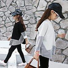 『媽咪貝貝』新款長袖衛衣假兩件兒童裝寶寶親子童裝潮 黑色 白色