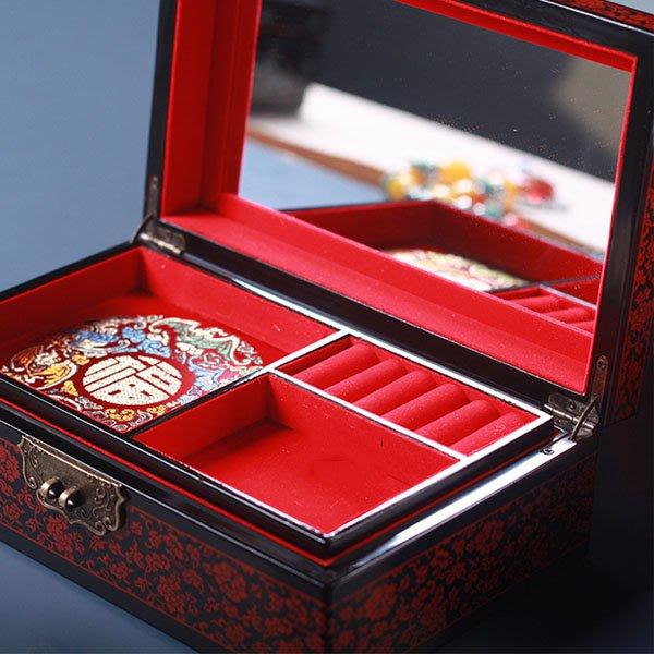 5Cgo【鴿樓】會員有優惠  41047881083 木質古典雙層首飾收納盒 紅色結婚首飾盒閨蜜結婚禮物多格飾品盒