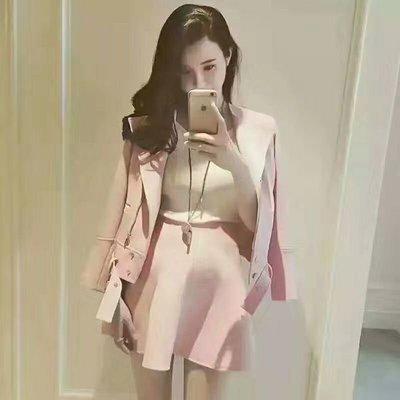 琳達購物中心-韓小香風機車外套+荷葉邊裙套裝(明星同款套裝)