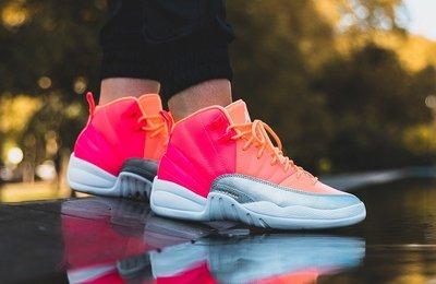 "Air Jordan 12 GS ""Hot Punch"" 橘銀 彩虹 時尚 中筒 籃球鞋 510815-601 女鞋"