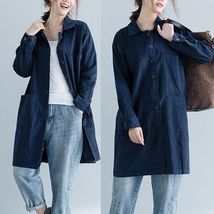文藝大尺碼女裝復古純色翻領燈芯絨寬鬆百搭基本款長袖襯衣