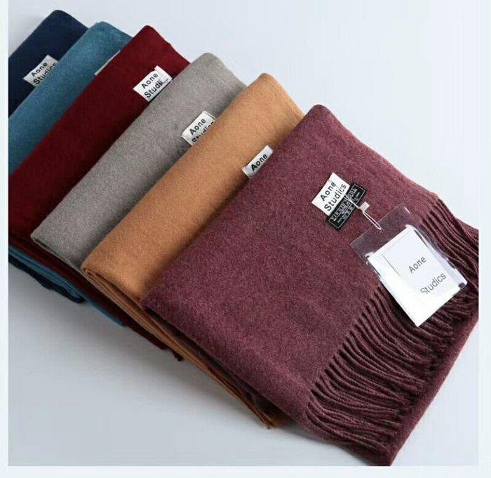 日本秋冬新款 超美圍巾 素面純色流蘇羊毛圍巾 男女百搭披肩 羊毛圍巾 羊毛披肩
