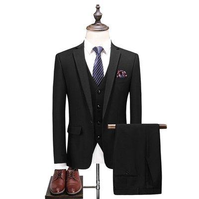 【MOZ潮流男装】西服套裝男三件套加大碼新郎結婚禮服潮韓版修身商務休閑西裝外套