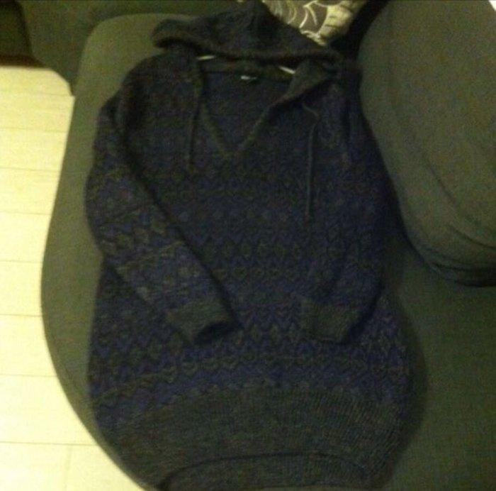 秋冬紫色毛海針織毛衣長版帶帽