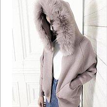 【馬克太太】SALE/現貨♡韓國製♡正韓氣質好搭粉色狐狸毛毛連帽拉鍊針織外套/短大衣◑有口袋好保暖/現貨