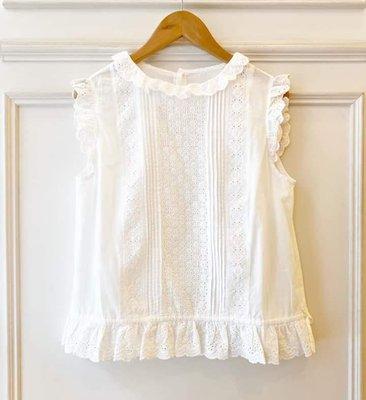 日本品牌白色蕾絲雕花背心
