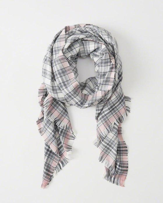 Maple麋鹿小舖 Abercrombie&Fitch * A&F 粉+藍灰格紋款大圍巾 *( 現貨one size )