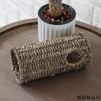 麵包籃 編織籃 提籃 野餐用品 收納籃 日式寵物窩倉鼠草編玩具鏤空龍貓籠子過道手工編織倉鼠玩具