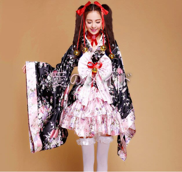 現貨 桃園寄出櫻花妹日系和服藝妓風極樂淨土舞蹈服COSPLAY閻魔愛攝影寫真角色扮演聖誕節裝扮聖誕