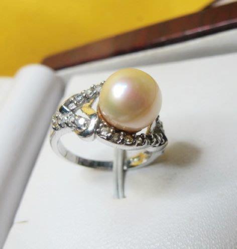 [庫存促銷品]正圓天然完美無暇南洋白透粉光珍珠9MM3A+級造型戒指