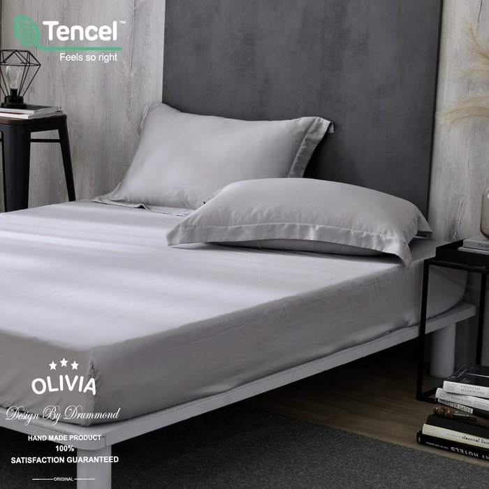 【OLIVIA】DR1000 solid color 全淺灰 標準雙人床包枕套三件組 300織天絲™萊賽爾 台灣製