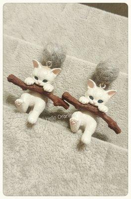 日系 訂製款 抱樹枝的小貓咪 925純...