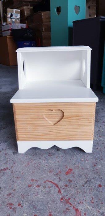 【現貨限量品】美生活館 全新紐松原木心型單抽階梯式收納櫃 樓梯櫃置物櫃 電話櫃 穿鞋椅--白色+原木色 雙色