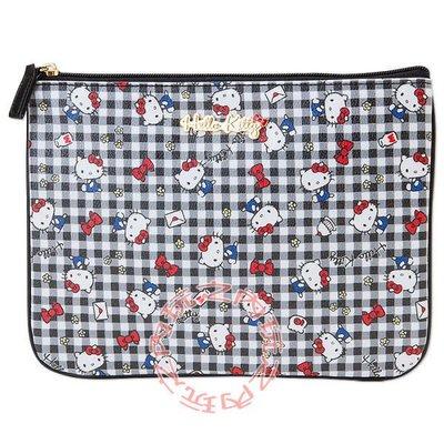 現貨出清特價👍Hello Kitty扁平化妝包 收納包(黑白格紋)390221【玩之內】日本進口三麗鷗正品