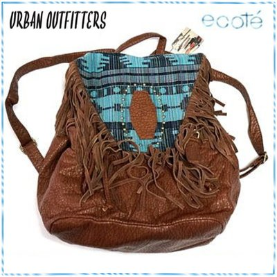 ☆POLLY媽☆Urban outfitters ecote藍色系民族風圖騰帆布麂皮流蘇棕色荔枝皮後背包USD$69