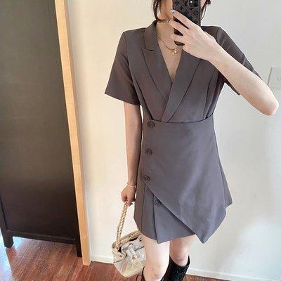 韓國購女裝大碼女裝2020夏時尚寬松遮肚藏肉休閒裙子洋裝胖MM顯瘦百搭網紅連身裙