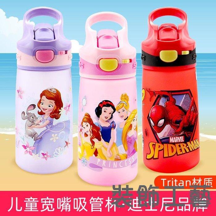 迪士尼兒童塑料吸管水杯磨砂面鴨嘴杯夏季幼兒園方便攜帶防摔水壺
