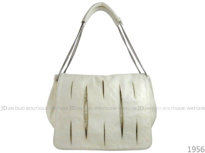 金鐸精品~1956 ALEXANDER WANG 米白色羊毛皮革 側肩背二用包