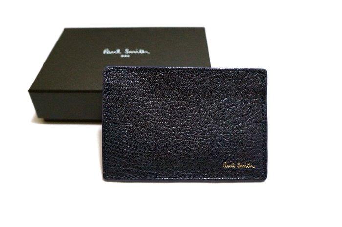 全新日本專櫃正品 Paul Smith 日版 藍紫色燙金字體荔枝牛皮雙色悠遊卡/信用卡/名片夾 附專櫃盒裝