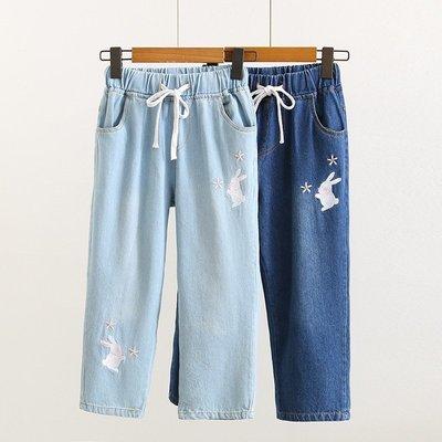 【0890】褲子  日系森女系兔子刺繡...
