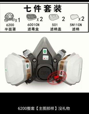 綸綸 3m防毒面具6200套餐七件組配查詢版6001(速出貨)3m公司仿偽標籤 防護口罩喷漆專用甲醛化工業防氣裝修活性炭面罩