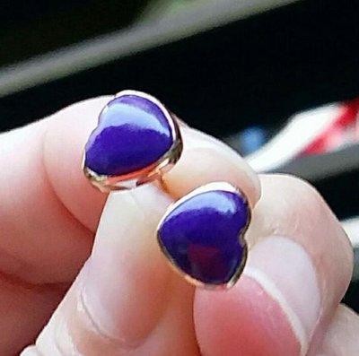 嗨,寶貝銀飾珠寶* 舒俱萊石寶石☆18k玫瑰金 簡約風 抗癌寶石 南非國寶 純天然皇家紫舒俱萊石寶石心形耳環 耳釘