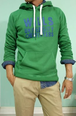 MISHIANA 英國品牌 JACK WILLS 男生款棉質連帽帽T ( 綠色新款上市 . 特價出售 )