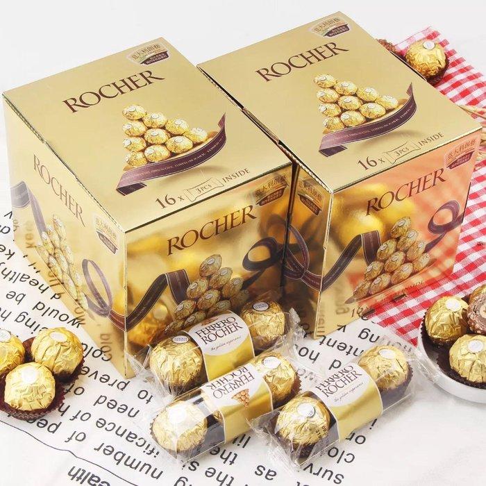 義大利進口 R0CHER巧克力禮盒。12.5g/48粒/600g。(3粒包X16條二37.5g/16條/600g)。現貨商品。