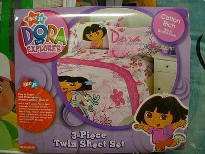 美國代購~DORA可愛滿底圖案單人床包組/附床包.被單.枕套~超低免運