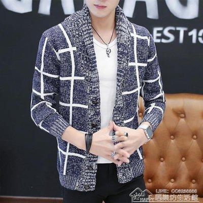 秋冬季男士格子外套青年韓版修身針織開衫個性休閒毛衣男士小衫潮