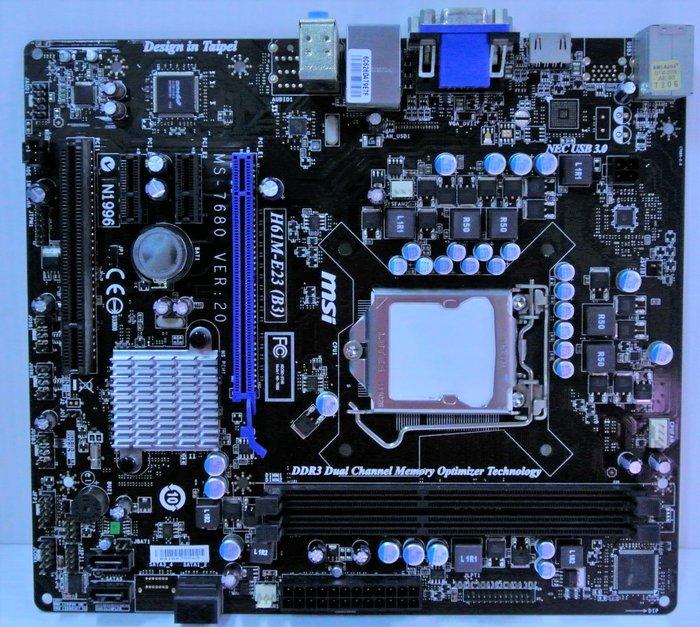 ~ 駿朋電腦 ~ 微星 H61M-E23 (B3) 1155主機板 DDR3 顯示 $600