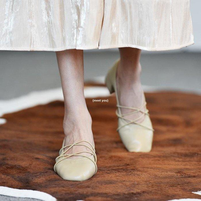 {meet you} 哈一先生 復古中跟軟皮皺褶奶奶鞋夏季顯瘦瑪麗珍法式淺口單鞋女