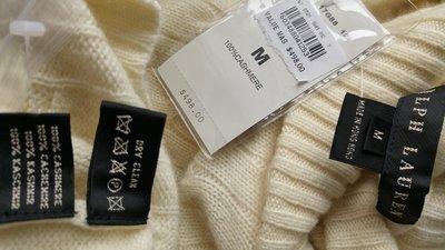 全新【Ralph Lauren 】米色100%CASHMERE 交叉領長袖羊毛衣 (原價美金498)