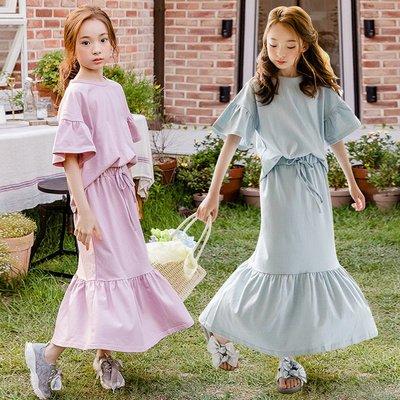 I BABY童裝 2019春夏 中大童親子裝 短袖上衣+長裙套裝 純棉 女童兩件套裝 母女裝【TA3300】