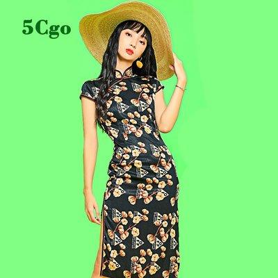 5Cgo【鴿樓】新式低領旗袍女現代風年輕款少女連衣裙改良版小眾蝕骨中國風裙子 598804805943