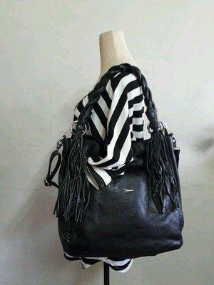 紫庭雜貨*全新 大包皮包 Diana 黛安娜 真皮 黑色編織 手提包 斜背包 肩背包 筆電包 媽媽包 附長帶 特價出清