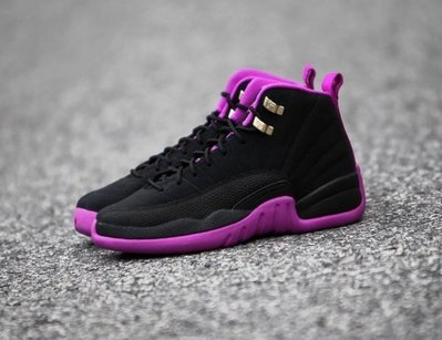 Nike Jordan 12 retro GG Violet 510815-018喬丹AJ-12黑紫金扣BG大童GS女鞋