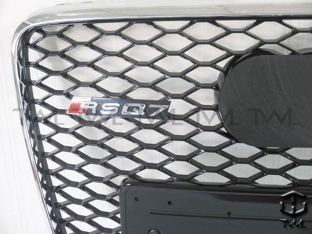 《※台灣之光※》全新AUDI奧迪Q7 08 10 11 12年 新款 RS RSQ7 樣式改蜂巢電鍍框黑網水箱罩