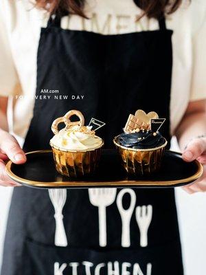 AM好時光【K128】perfectly 黑質感燙金三角 蛋糕插牌 10枚❤手工餅乾袋標籤 甜點禮品包裝盒 西點裝飾吊牌